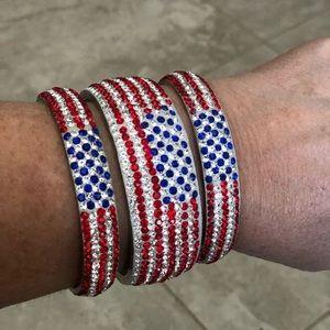 3 piece American Flag 🇺🇸 Rhinestone Bracelets